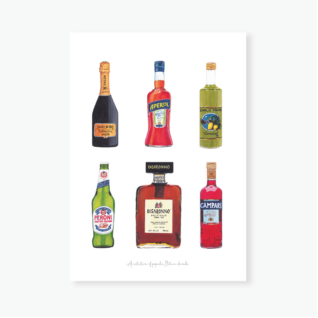 Italian Drinks Art Print