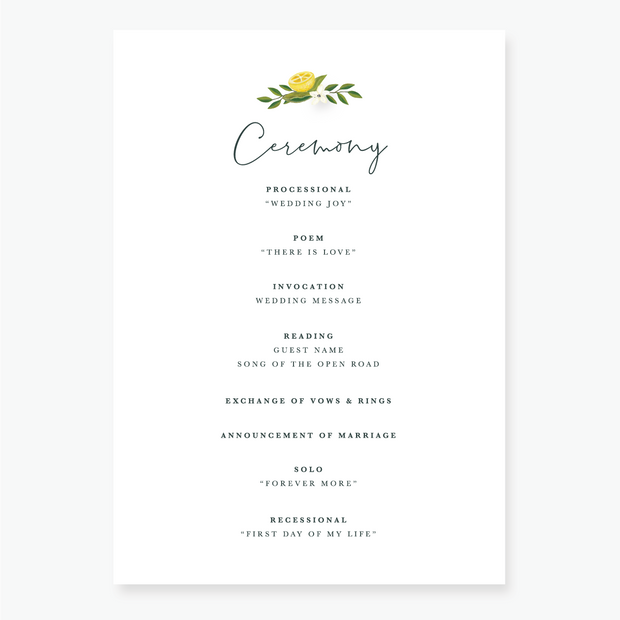 Lemon Garden Order of Service