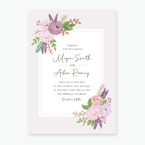 Pastel Rose Wedding Invitation