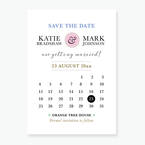 Calendar Save the Date Card