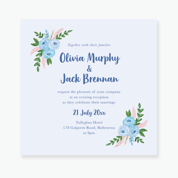 Blue Garden Evening Invitation