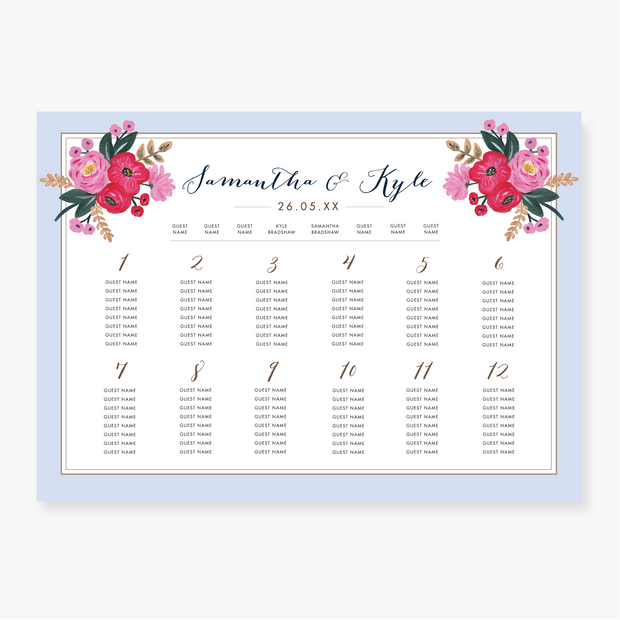 Sweet Bloom Table Plan