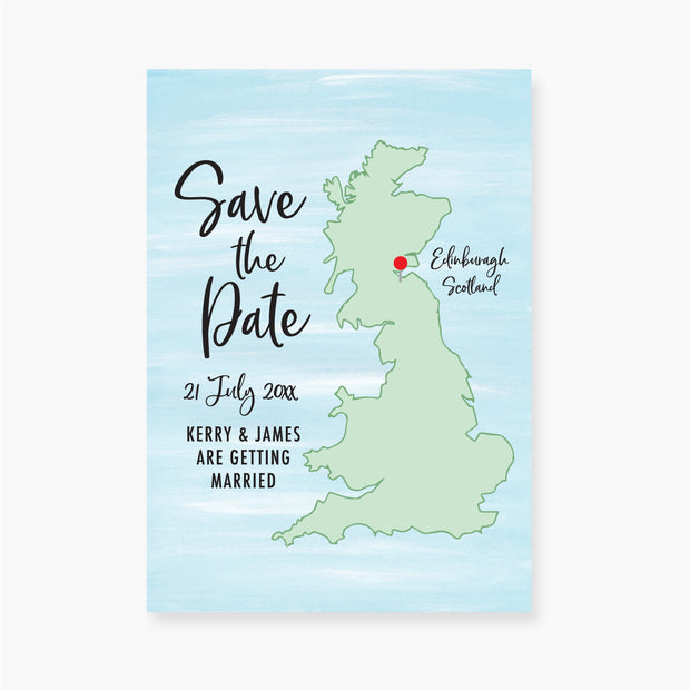 Map of UK Save the Date Card