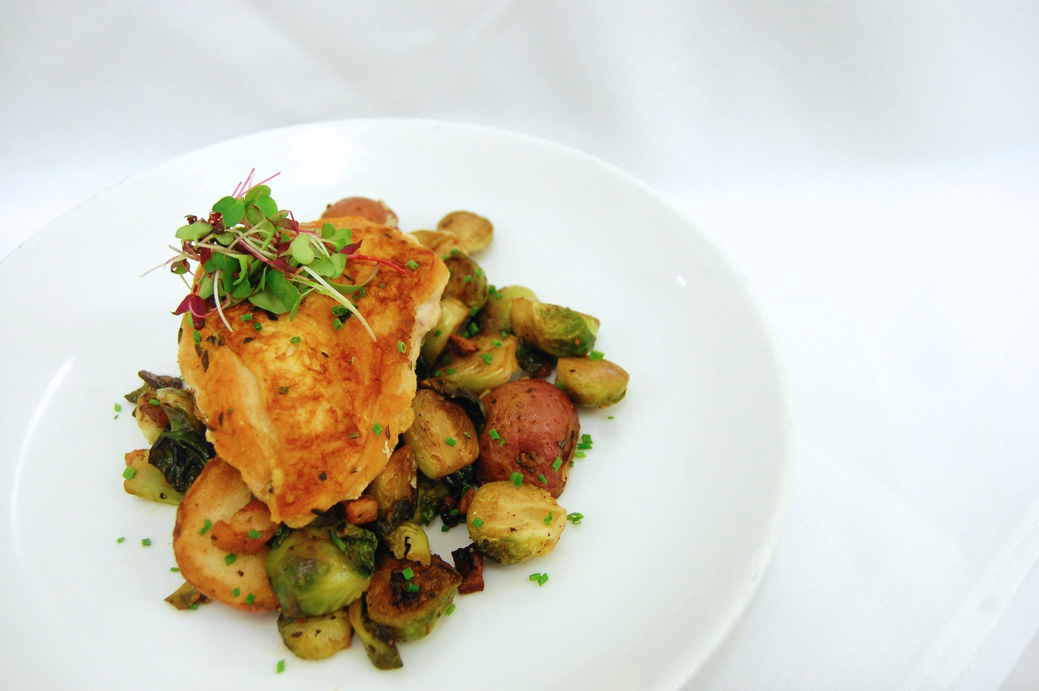 Rosemary Chicken, Roasted Brussel Sprouts & Roasted Potatoes