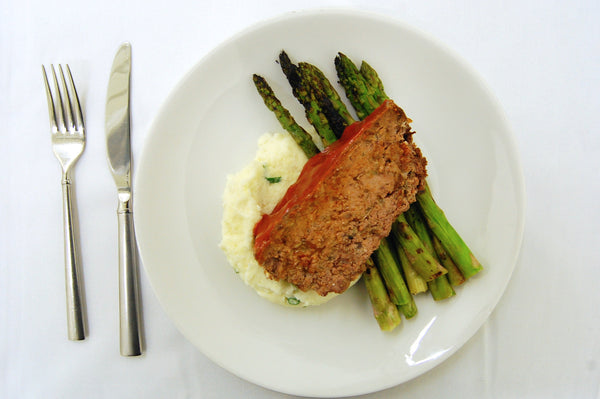 Meatloaf, Mashed Potatoes & Grilled Asparagus