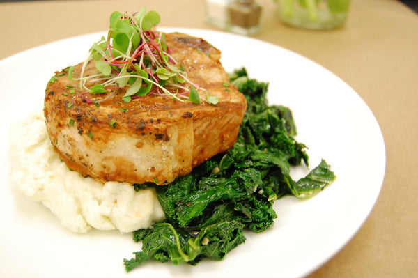 Grilled Pork Chop, Sautéed Kale & Mashed Potatoes