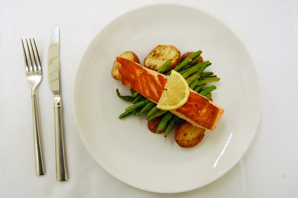 Salmon, Sautéed Green Beans & Roasted Potatoes