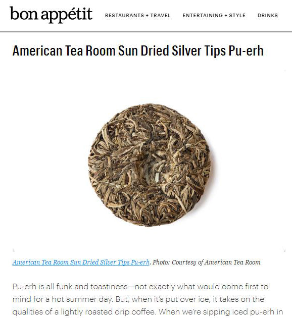 Bon Apetit Magazine's Best Teas to Ice Includes American Tea Room's Puer