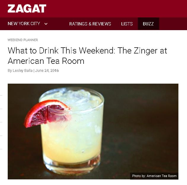 Zagat Zinger Cocktail at American Tea Room