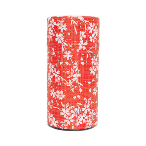 Red Washi Paper Tea Canister with Pink Flowers