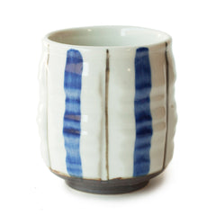 Blue and Brown Stripe Japanese Teacup