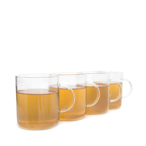 set of 4 glass tea mugs
