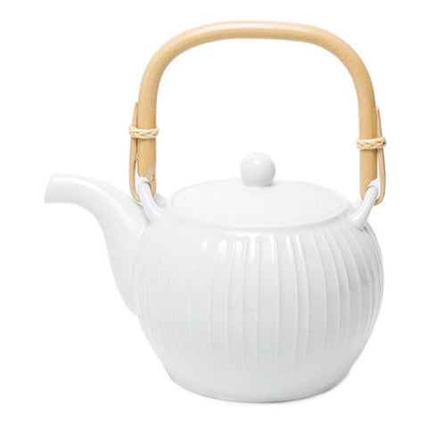 White Ribbed Japanese Porcelain Teapot with Bamboo Handle
