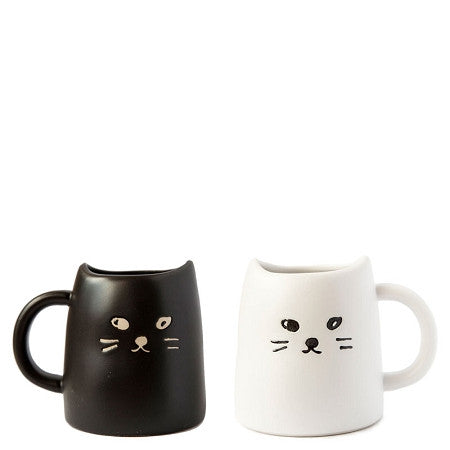 Cat Mug Set - Black and White