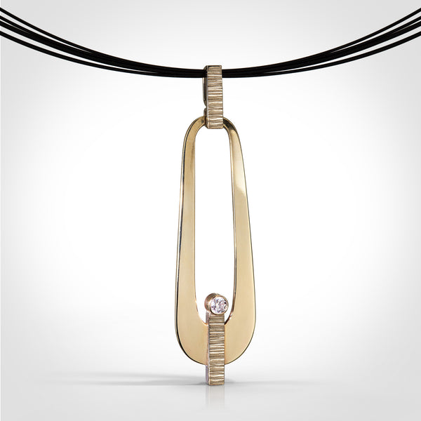Brampton - 14k yellow / palladium white gold / diamond pendant