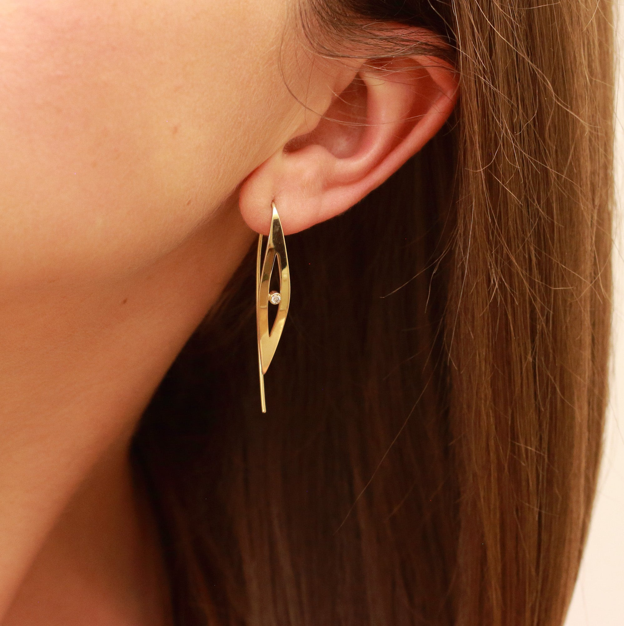 Birch - 14k gold / diamonds earrings