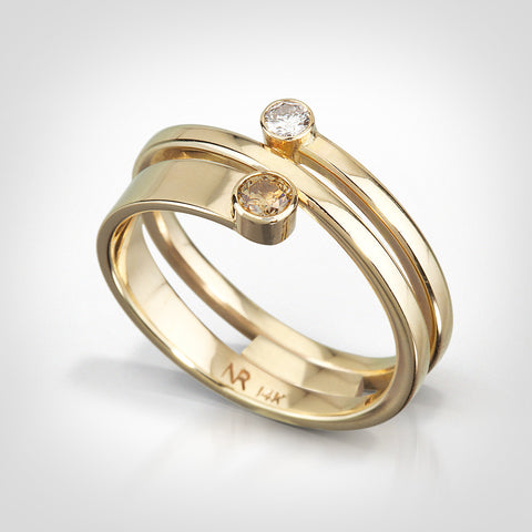 Camden - 14K yellow gold white and cognac diamonds - Custom ring
