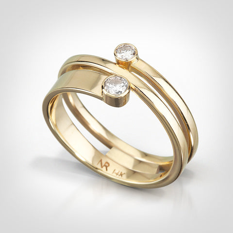 Camden-14K yellow gold. White diamonds-Custom ring