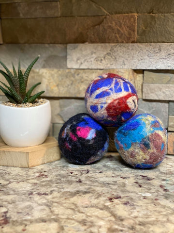 Organic BABY Lincoln Wool Dryer Balls (SET OF 3) Color Blast