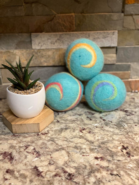Organic LARGE Lincoln Wool Dryer Balls (SET OF 3) Ocean Breeze