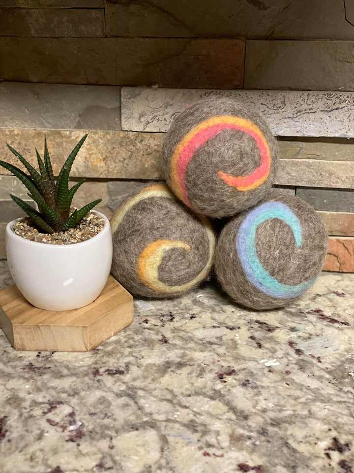 Organic LARGE Lincoln Wool Dryer Balls (SET OF 3) Natural Swirl