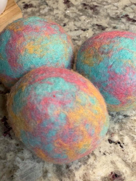 Organic LARGE Lincoln Wool Dryer Balls (SET OF 3) Baby Blues
