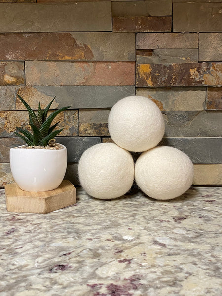 Organic Hampshire Wool Dryer Balls (SET OF 3) White