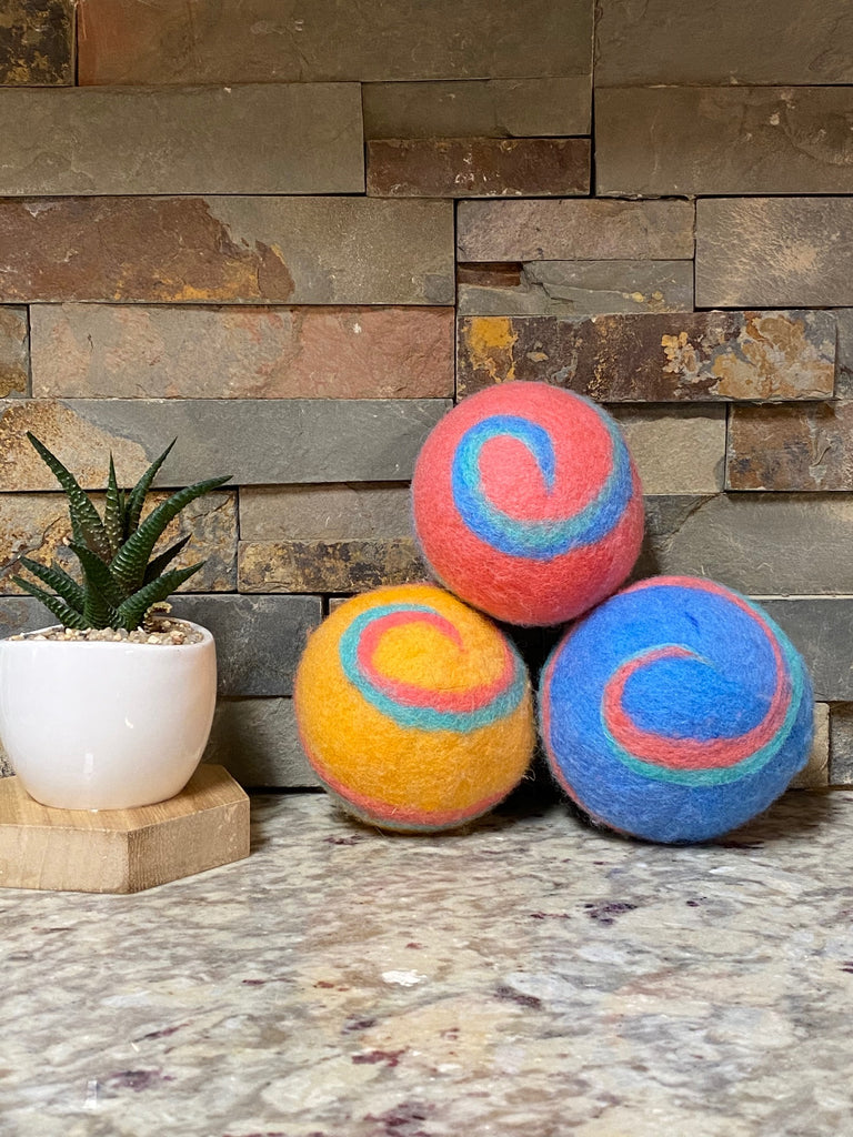 Organic LARGE Lincoln Wool Dryer Balls (SET OF 3) Colorful Swirl