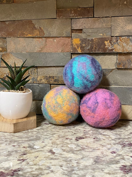 Organic LARGE Lincoln Wool Dryer Balls (SET OF 3) Colorful Blast