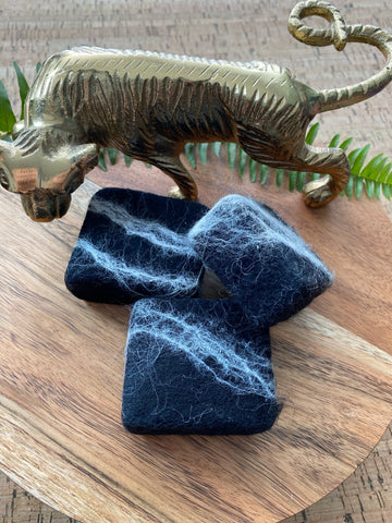 Lavender Bamboo Charcoal Felted Soap