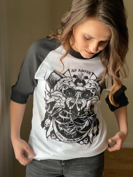 As Above So Below (Retro T-Shirt) 3/4 Sleeve