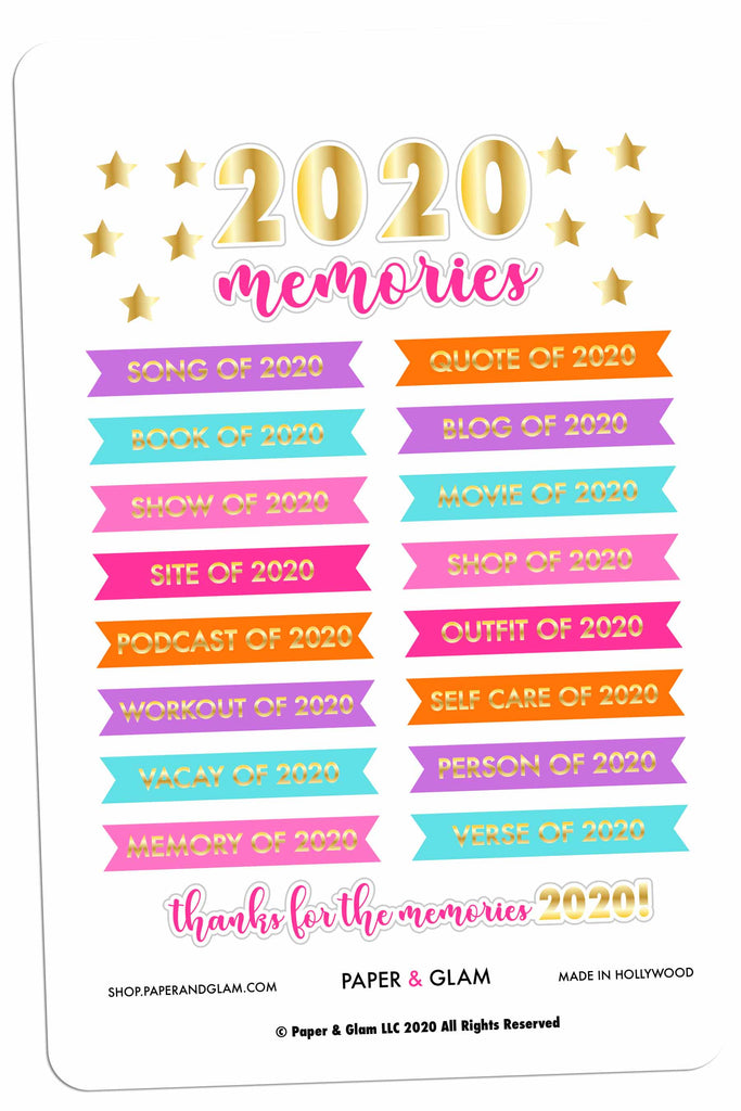 Gold Foil Yearly Memory Dashboard Planner Stickers
