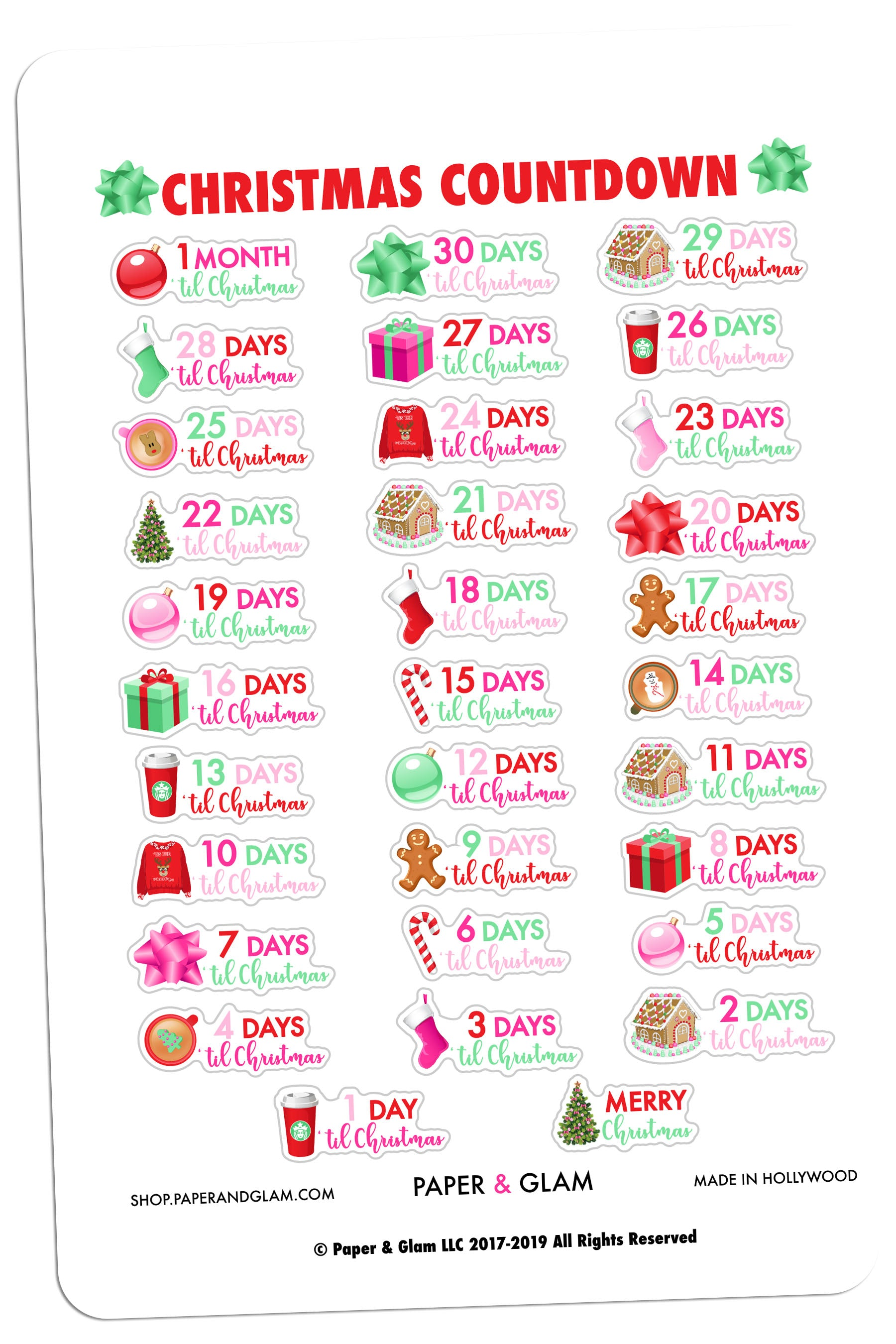 Glam Christmas Countdown Digital Planner Stickers – Paper & Glam