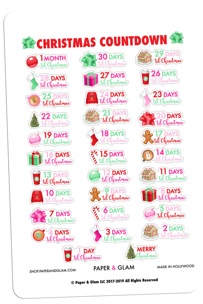 Glam Christmas Countdown Planner Stickers