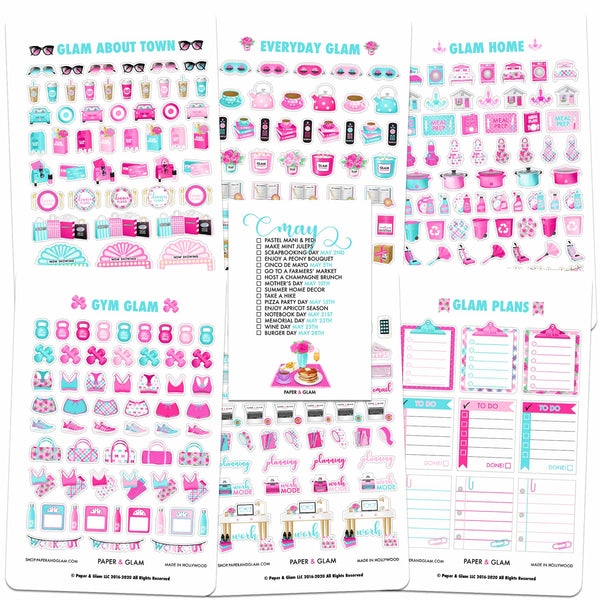 Core Glam Monthly Planner Stickers (6 Sheets)