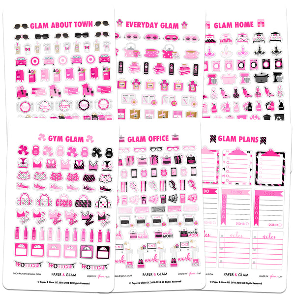Core Glam August Planner Stickers