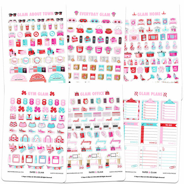 Core Glam February Planner Stickers