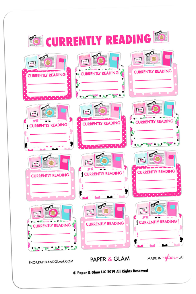 Currently Reading Digital Planner Stickers