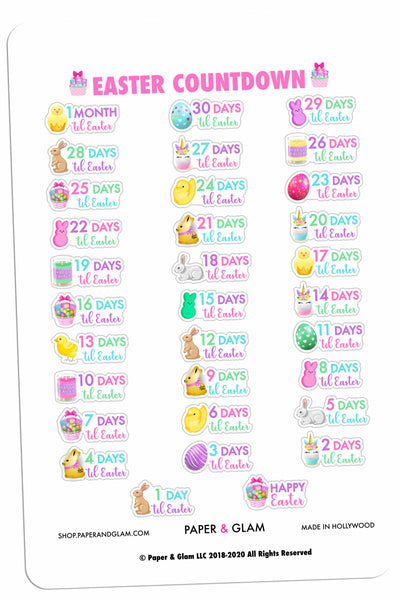 Glam Easter Countdown Digital Planner Stickers