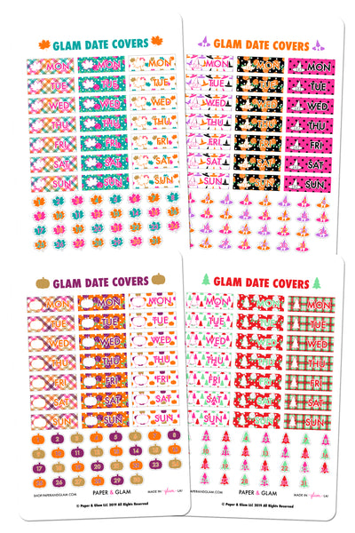 Gold Foil Fall & Holiday Date Cover Planner Stickers