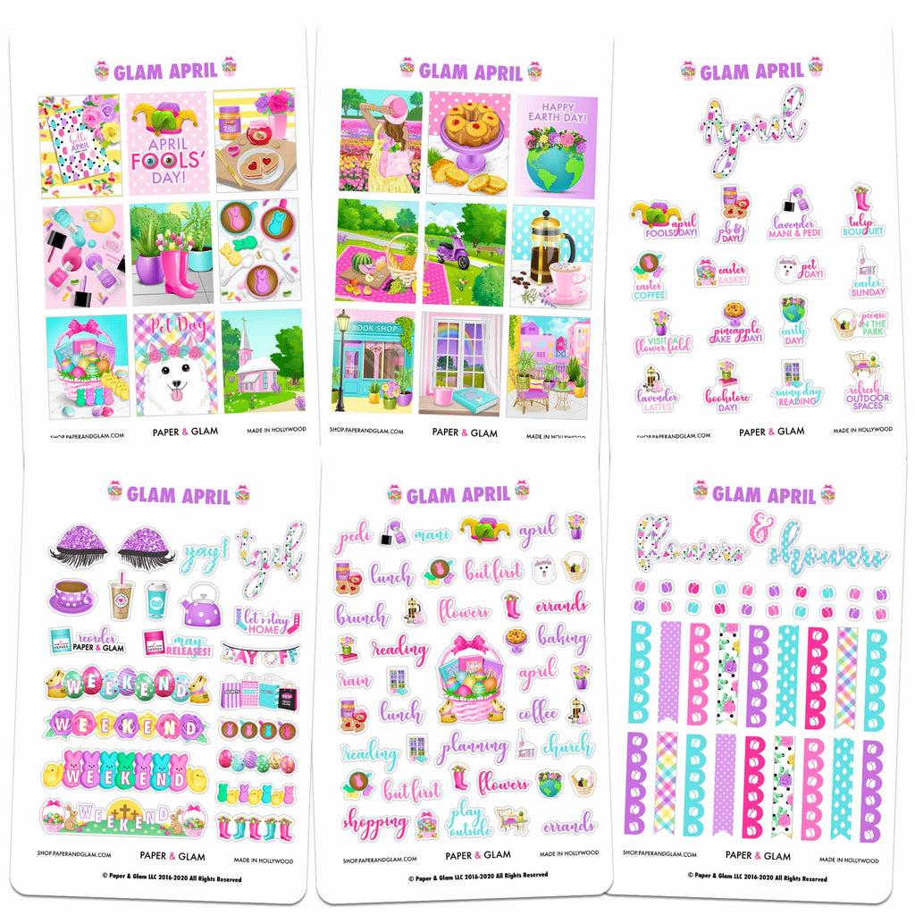 Glam April Digital Planner Stickers