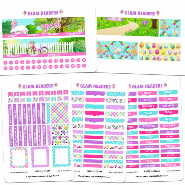 Glam April Headers Digital Planner Stickers
