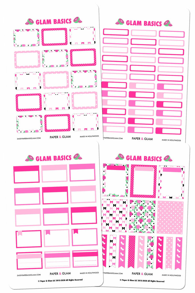 Glam August Basics Planner Stickers
