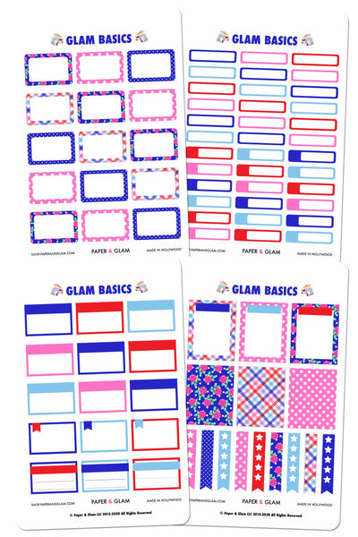 Glam Basics July Digital Planner Stickers