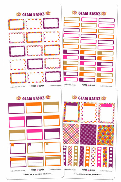 Glam November Basics Planner Stickers