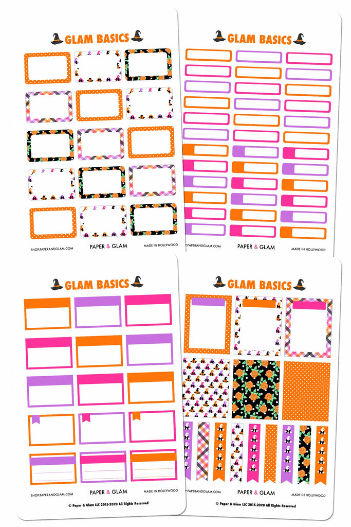 Glam October Basics Planner Stickers