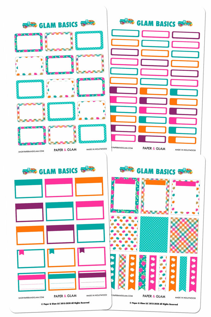 Glam September Basics Planner Stickers