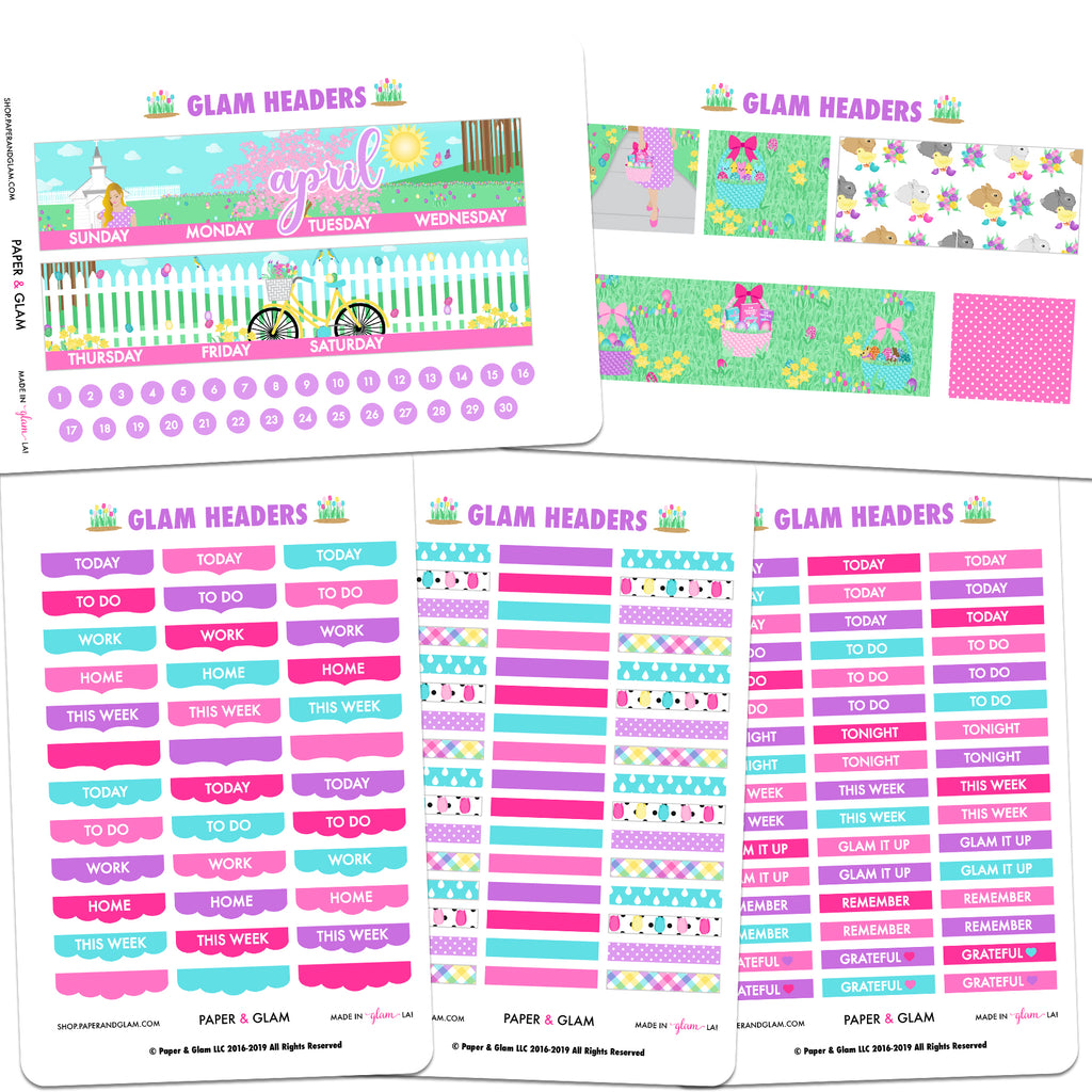 Glam Headers April Digital Planner Stickers
