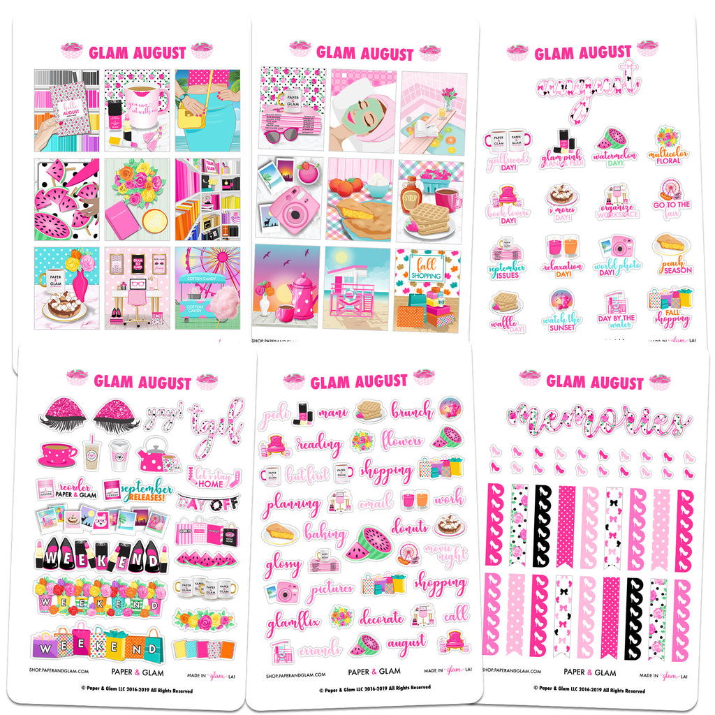 Glam August Digital Planner Stickers