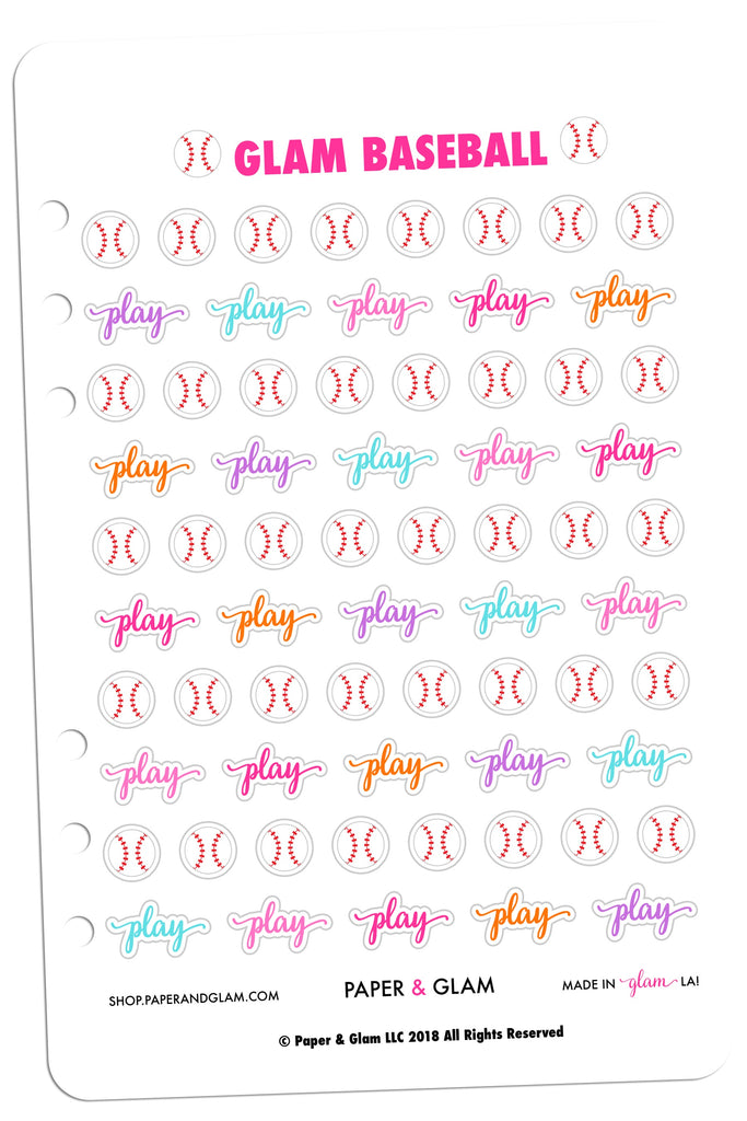 Glam Baseball Digital Planner Stickers